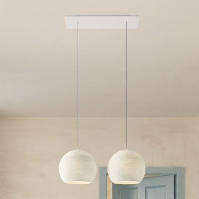 Závěsná lampa se 2 světly, s obdélníkovým XXL baldachýnem Rose-One, textilním kabelem a se stínidly Kupole M