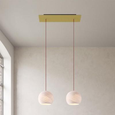 Závěsná lampa se 2 světly, s obdélníkovým XXL baldachýnem Rose-One, textilním kabelem a se stínidly Kupole XS