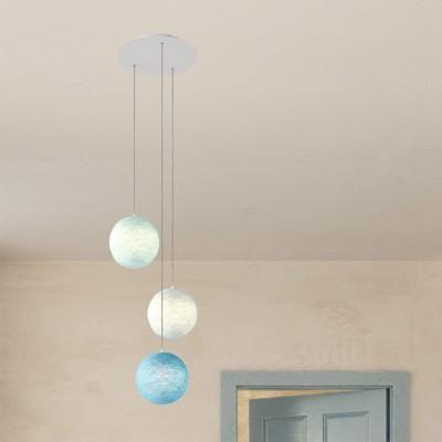 Závěsná lampa se 3 světly, s kulatým XXL baldachýnem Rose-One, textilním kabelem a se stínidlem Koule XS