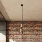 3-light multi-pendant lamp featuring fabric cable and Double Tub-E14 metal lampshade