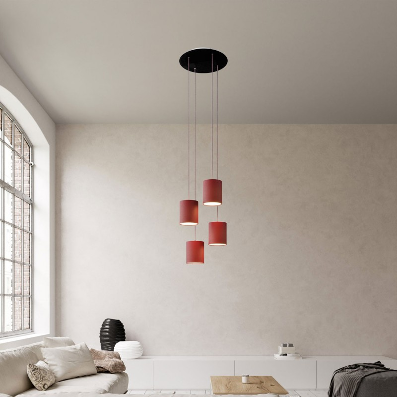 4-light pendant lamp with 400 mm round XXL Rose-One, featuring fabric cable and fabric Cylinder lampshade
