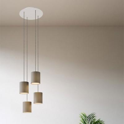 Závěsná lampa se 4 světly, s kulatým XXL baldachýnem Rose-One, textilním kabelem a válcovými plátěnými stínidly