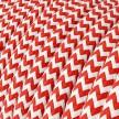 Hedvábný textilní elektrický kabel, RZ09 Červeno bílý Cik Cak