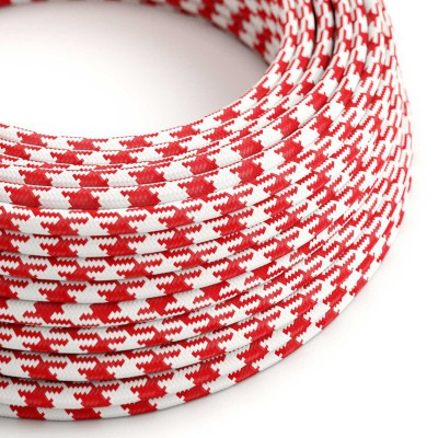 Hedvábný textilní elektrický kabel, dvoubarevný, RP09 Červeno bílý