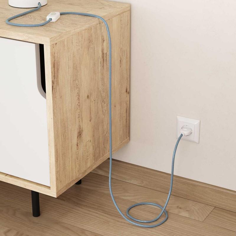 Hedvábný textilní elektrický kabel, RZ11 Tyrkysovo bílý Cik Cak