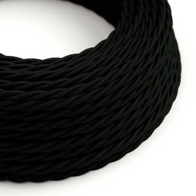 Splétaný hedvábný textilní elektrický kabel, TM04 Černý