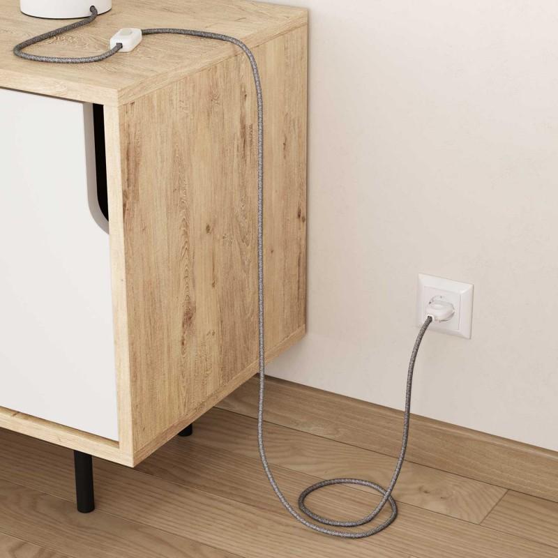 Lněný textilní elektrický kabel, RN02 přírodní šedé barvy