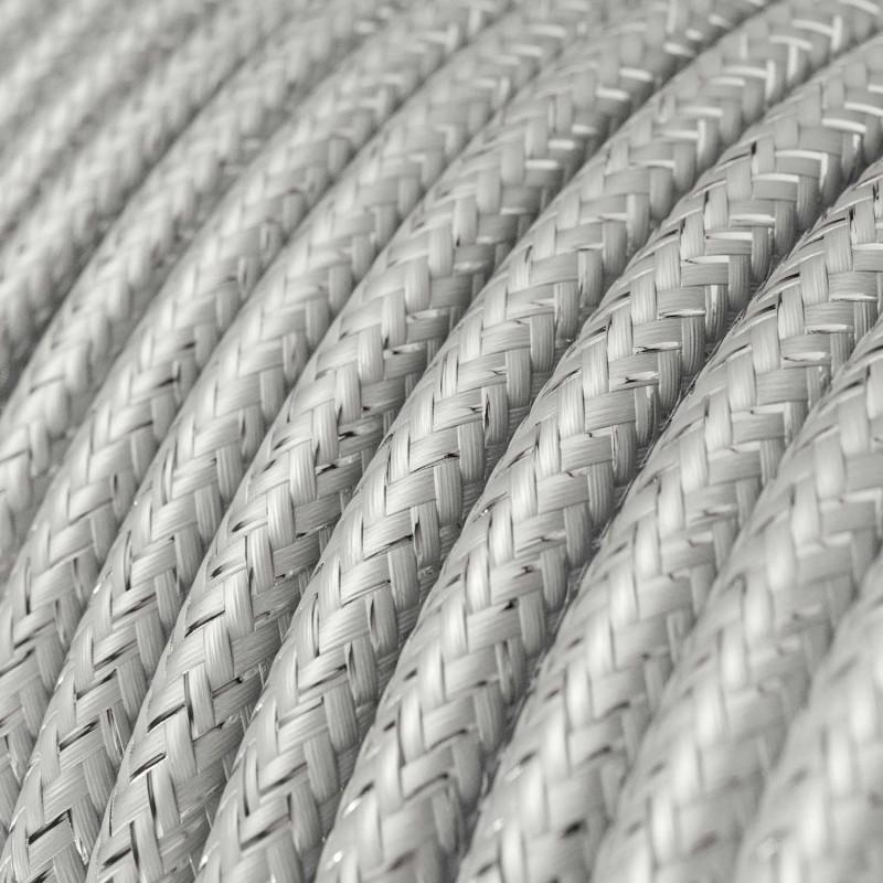Hedvábný textilní elektrický kabel - třpytivý efekt - RL02 Stříbrný