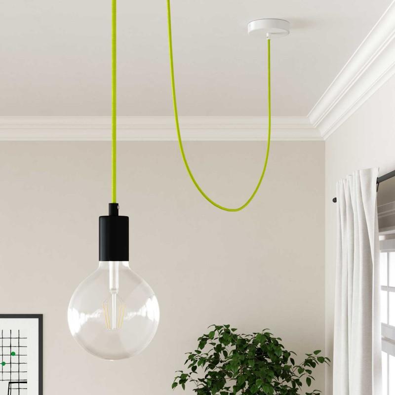 Hedvábný textilní elektrický kabel, RF10 Fluo žlutý