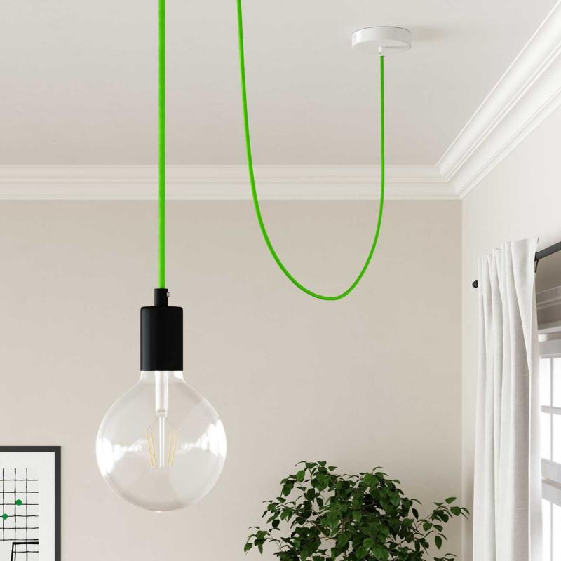 Hedvábný textilní elektrický kabel, RF06 Fluo zelený