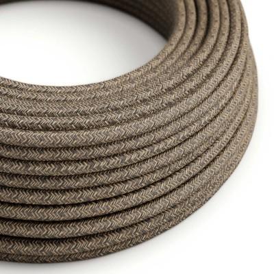 Lněný textilní elektrický kabel, RN04 přírodní hnědé barvy