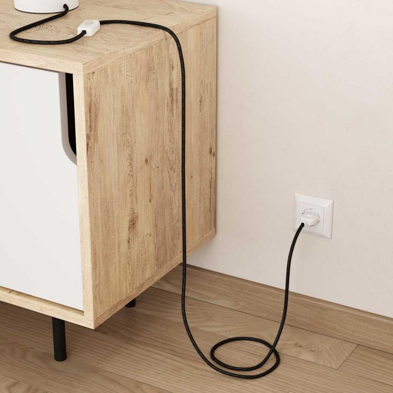 Lněný textilní elektrický kabel, RN03 přírodní antracitové barvy