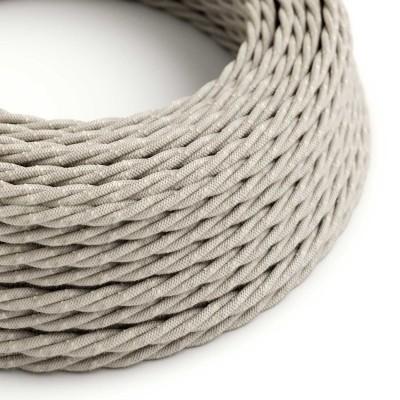 Splétaný lněný textilní elektrický kabel TN01 přírodní neutrální barvy