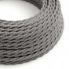 Splétaný lněný textilní elektrický kabel TN02 přírodní šedé barvy