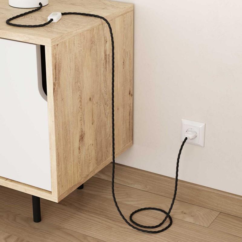 Splétaný lněný textilní elektrický kabel TN03 přírodní antracitové barvy