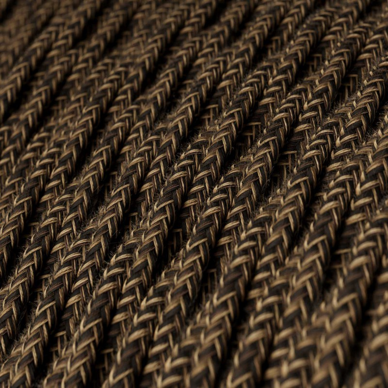 Splétaný lněný textilní elektrický kabel TN03 přírodní hnědé barvy