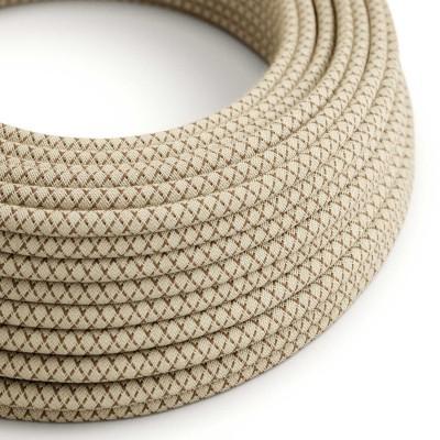Textilní elektrický kabel opředený přírodním lnem a bavlnou kůrové barvy RD63 vzor kosočtverce.