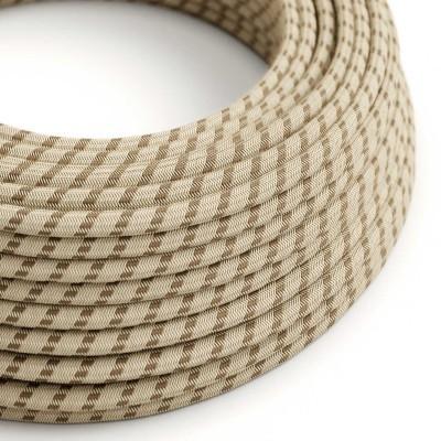 Textilní elektrický kabel opředený přírodním lnem a bavlnou kůrové barvy RD53 vzor pruhy.