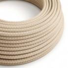 Textilní elektrický kabel opředený přírodním lnem a bavlnou starorůžové barvy RD61 vzor kosočtverce.