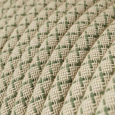 Textilní elektrický kabel opředený přírodním lnem a bavlnou tymiánové barvy RD62 vzor kosočtverce.