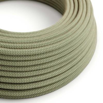 Textilní elektrický kabel opředený přírodním lnem a bavlnou tymiánové barvy RD72 vzor Cik Cak.
