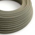 Textilní elektrický kabel opředený přírodním lnem a bavlnou antracitové barvy RD74 vzor Cik Cak.