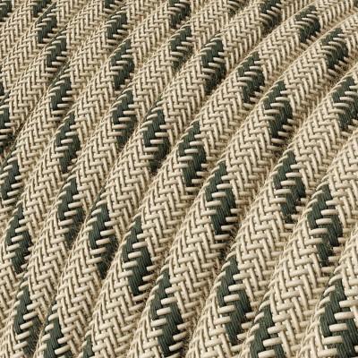 Textilní elektrický kabel opředený přírodním lnem a bavlnou antracitové barvy RD54 vzor pruhy.