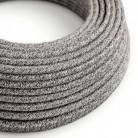 Textilní elektrický kabel opředený přírodním lnem a bavlnou černé onyxové barvy s jemným třpytivým efektem RS81
