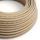 Textilní elektrický kabel opředený přírodním lnem a bavlnou hnědé barvy s jemným třpytivým efektem RS82