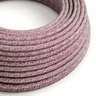 Textilní elektrický kabel opředený přírodním lnem a bavlnou bordové barvy s jemným třpytivým efektem RS83