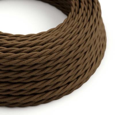 Splétaný bavlněný textilní elektrický kabel, TC13 Hnědý