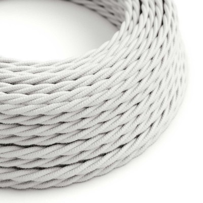 Splétaný bavlněný textilní elektrický kabel, TC01 Bílý