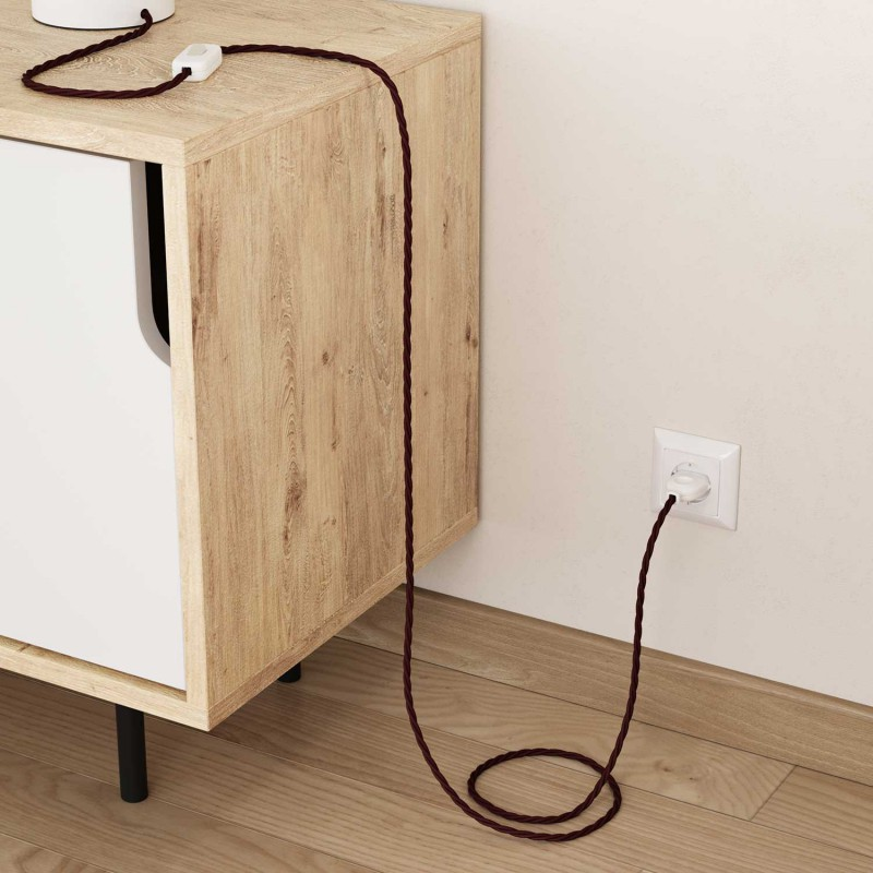 Splétaný hedvábný textilní elektrický kabel, TM19 Bordový