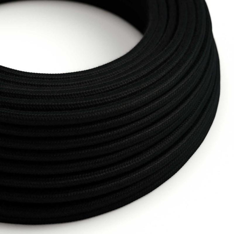 Bavlněný textilní elektrický kabel, RC04 Černý