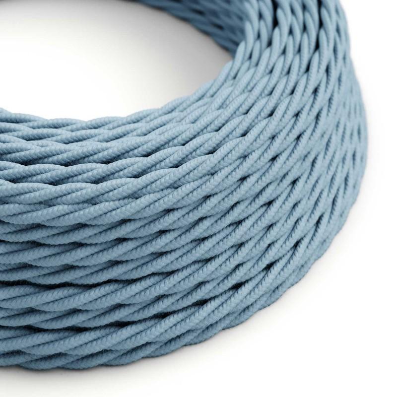 Splétaný bavlněný textilní elektrický kabel, TC53 barvy oceánu