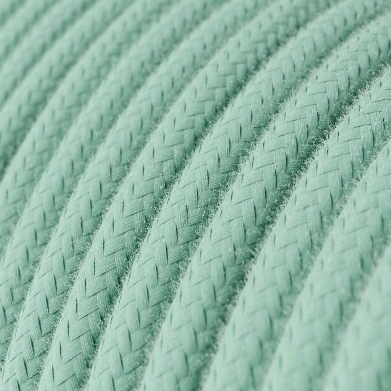 Bavlněný textilní elektrický kabel, RC34 Mléčně mátový