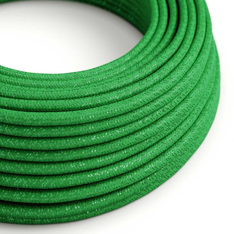 Hedvábný textilní elektrický kabel - třpytivý efekt - R06 Zelený