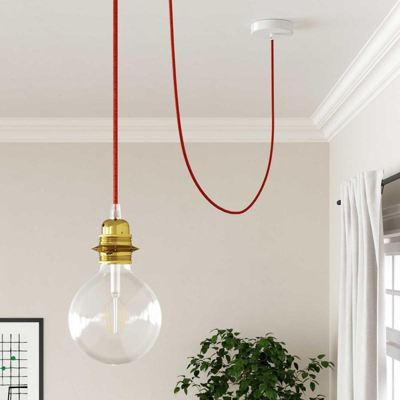 Hedvábný textilní elektrický kabel - třpytivý efekt - RL09 Červený