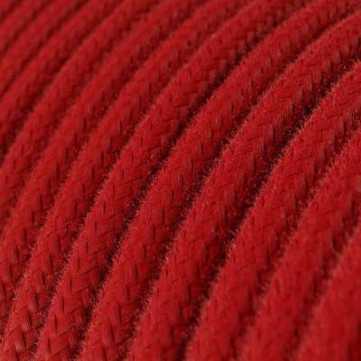 Bavlněný textilní elektrický kabel, RC35 Ohnivě červený