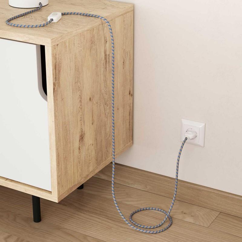 Textilní elektrický kabel opředený přírodním lnem a bavlnou modré barvy RD55 vzor pruhy.