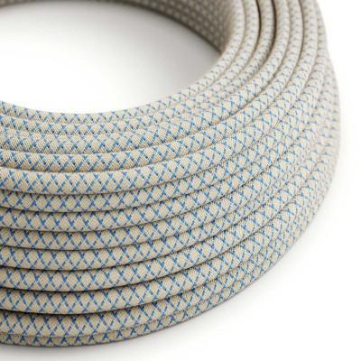 Textilní elektrický kabel opředený přírodním lnem a bavlnou modré barvy RD65 vzor kosočtverce.