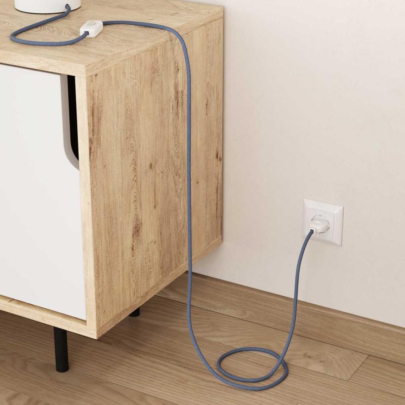 Textilní elektrický kabel opředený přírodním lnem a bavlnou modré barvy RD65 vzor Cik Cak.
