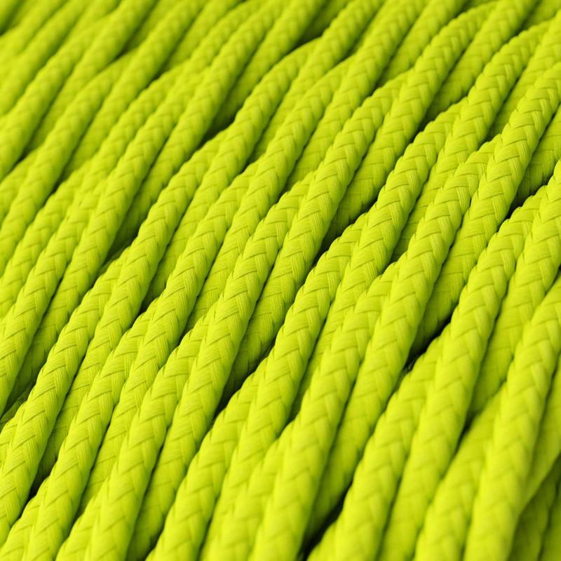Splétaný hedvábný textilní elektrický kabel, RF10 Fluo žlutý