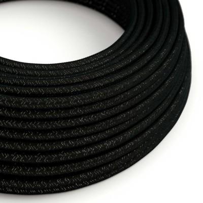Hedvábný textilní elektrický kabel - třpytivý efekt - RL04 Černý