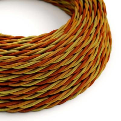 """Splétaný hedvábný textilní elektrický kabel, TG04 """"Orange"""""""