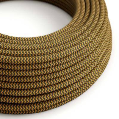 Bavlněný textilní elektrický kabel, RZ27 Medovo zlatý a antracitový Cik Cak