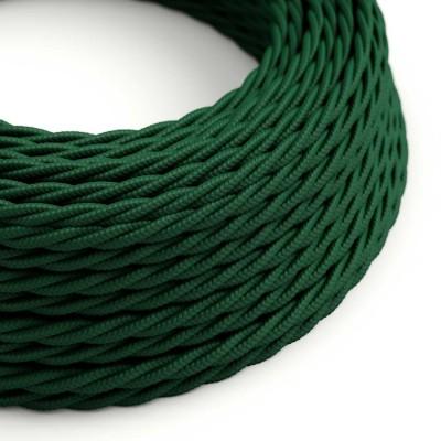 Zkroucený hedvábný textilní elektrický kabel TM21 Tmavě zelený