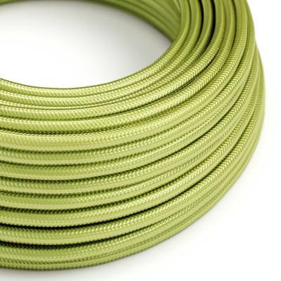Hedvábný textilní elektrický kabel kulatý - RM32 kiwi