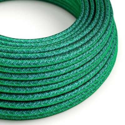 Hedvábný textilní elektrický kabel kulatý - RM33 smaragdový