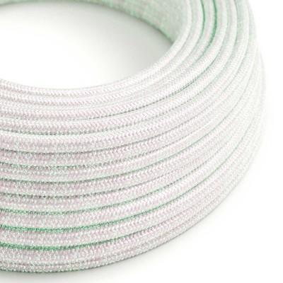Hedvábný textilní elektrický kabel kulatý - třpytivý efekt RL00 duhový